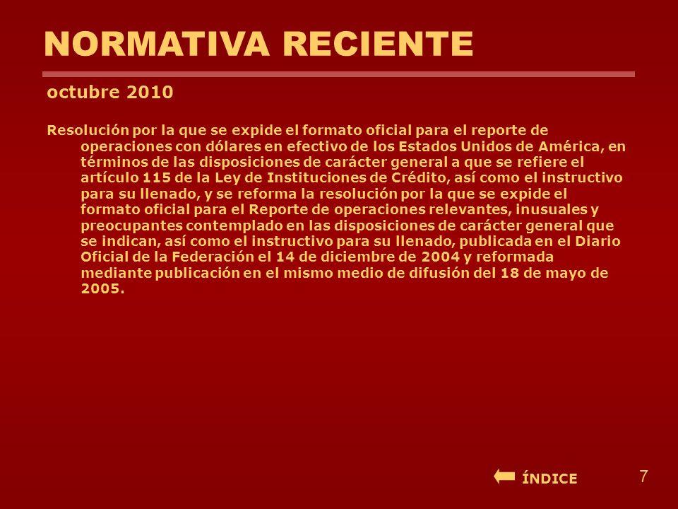 NORMATIVA RECIENTE octubre 2010 Resolución por la que se expide el formato oficial para el reporte de operaciones con dólares en efectivo de los Estad