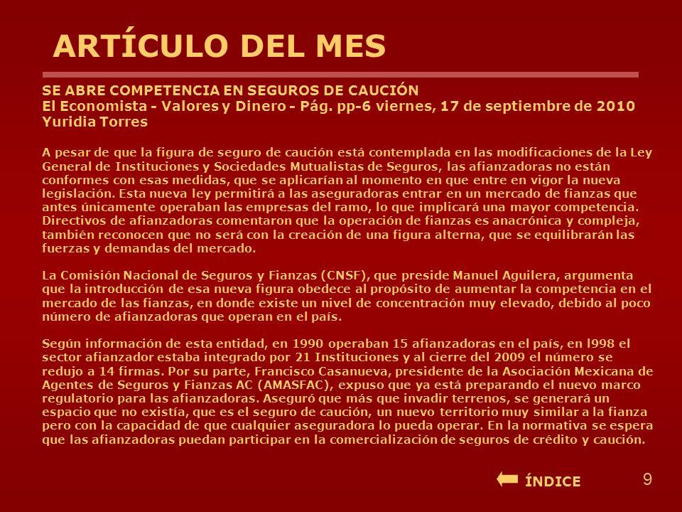 ARTÍCULO DEL MES SE ABRE COMPETENCIA EN SEGUROS DE CAUCIÓN El Economista - Valores y Dinero - Pág. pp-6 viernes, 17 de septiembre de 2010 Yuridia Torr