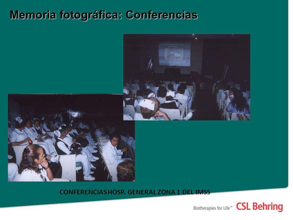 Memoria fotográfica: Conferencias CONFERENCIAS HOSP. GENERAL ZONA 1 DEL IMSS