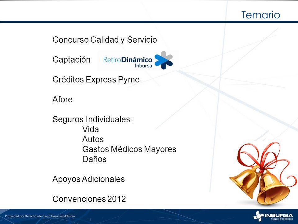 Temario Concurso Calidad y Servicio Captación Créditos Express Pyme Afore Seguros Individuales : Vida Autos Gastos Médicos Mayores Daños Apoyos Adicio