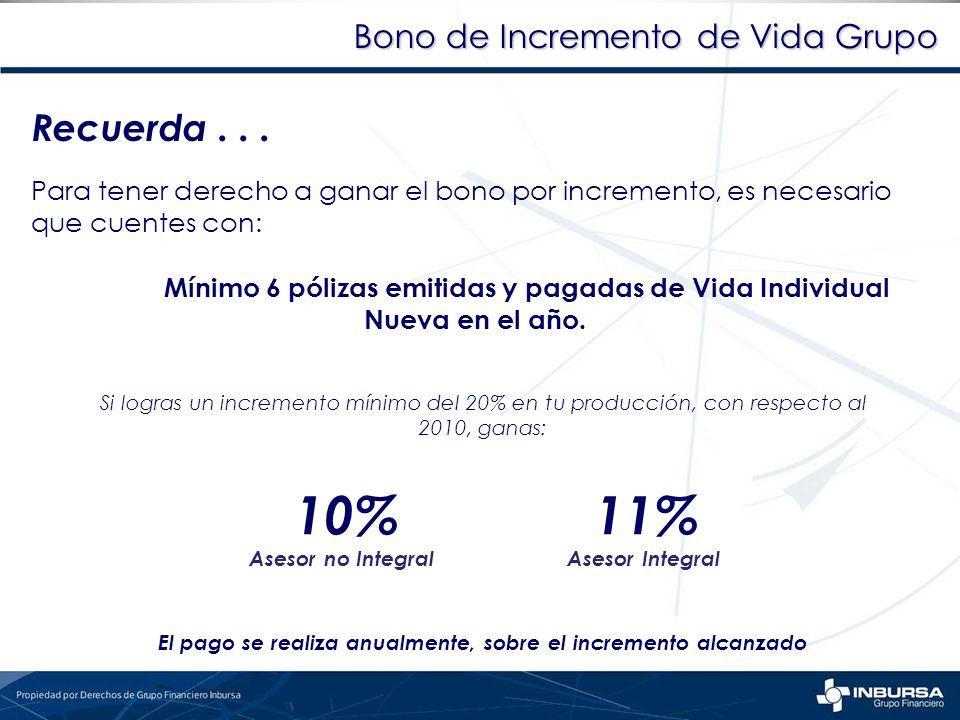 Bono de Incremento de Vida Grupo Recuerda... Para tener derecho a ganar el bono por incremento, es necesario que cuentes con: Mínimo 6 pólizas emitida