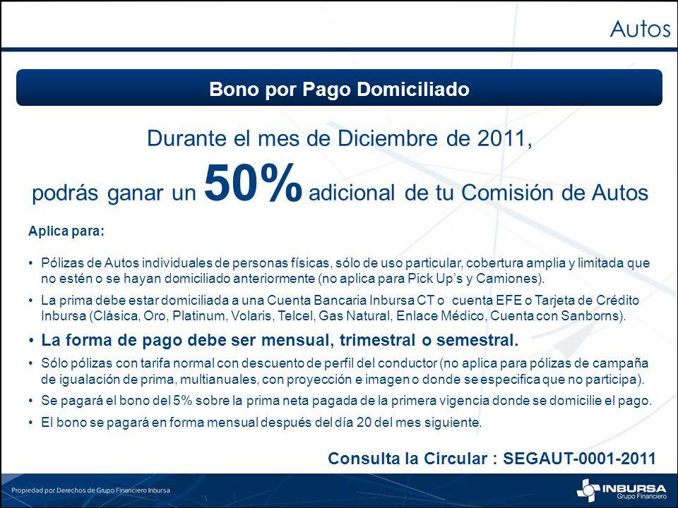 Durante el mes de Diciembre de 2011, podrás ganar un 50% adicional de tu Comisión de Autos Aplica para: Pólizas de Autos individuales de personas físi