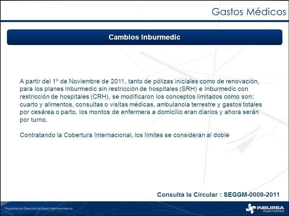 A partir del 1º de Noviembre de 2011, tanto de pólizas iniciales como de renovación, para los planes Inburmedic sin restricción de hospitales (SRH) e