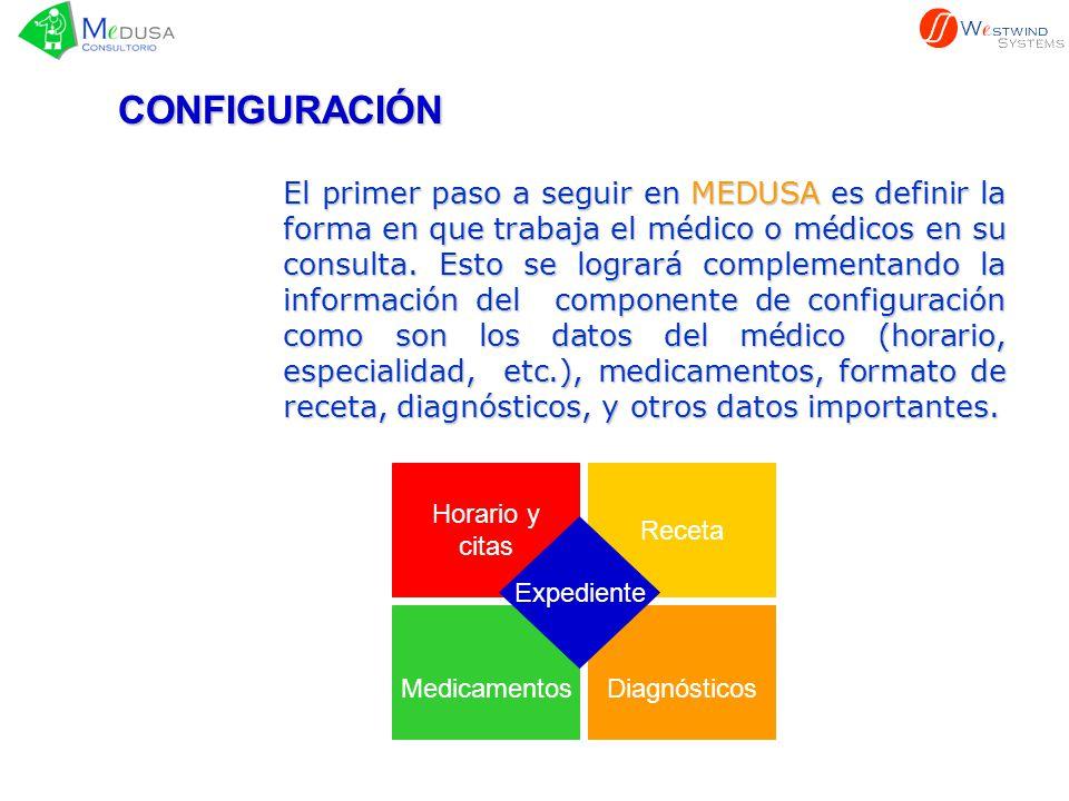 La etapa de CONFIGURACIÓN es previa al uso normal del Sistema, pues requiere que el Médico defina y cargue la información para ser usadas en la operación diaria de MEDUSA.
