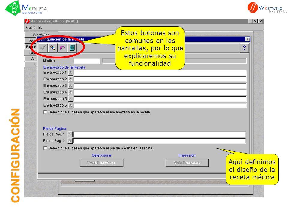 Botón Aceptar: Para Aceptar y guardar la información capturada CONFIGURACIÓN
