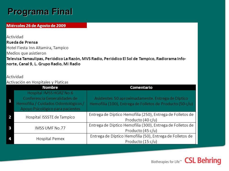 Programa Final Miércoles 26 de Agosto de 2009 Actividad Rueda de Prensa Hotel Fiesta Inn Altamira, Tampico Medios que asistieron Televisa Tamaulipas,
