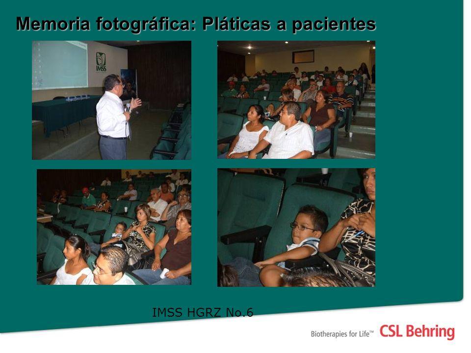 Memoria fotográfica: Pláticas a pacientes IMSS HGRZ No.6