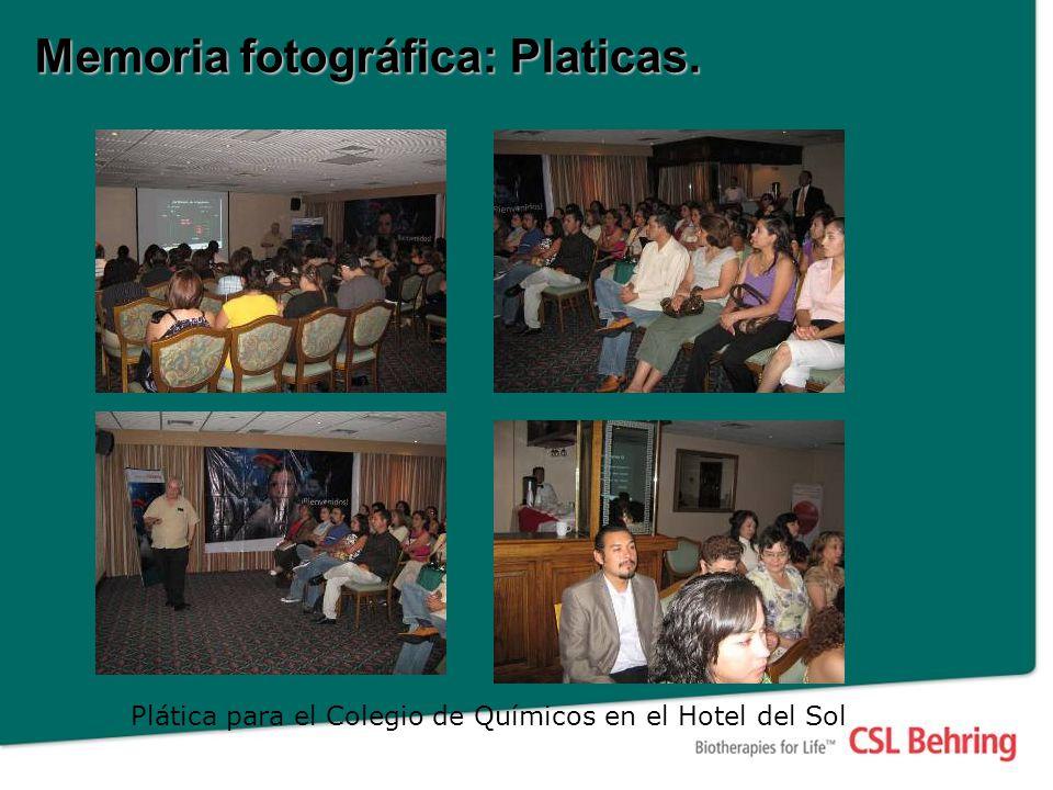 Memoria fotográfica: Platicas. Plática para el Colegio de Químicos en el Hotel del Sol