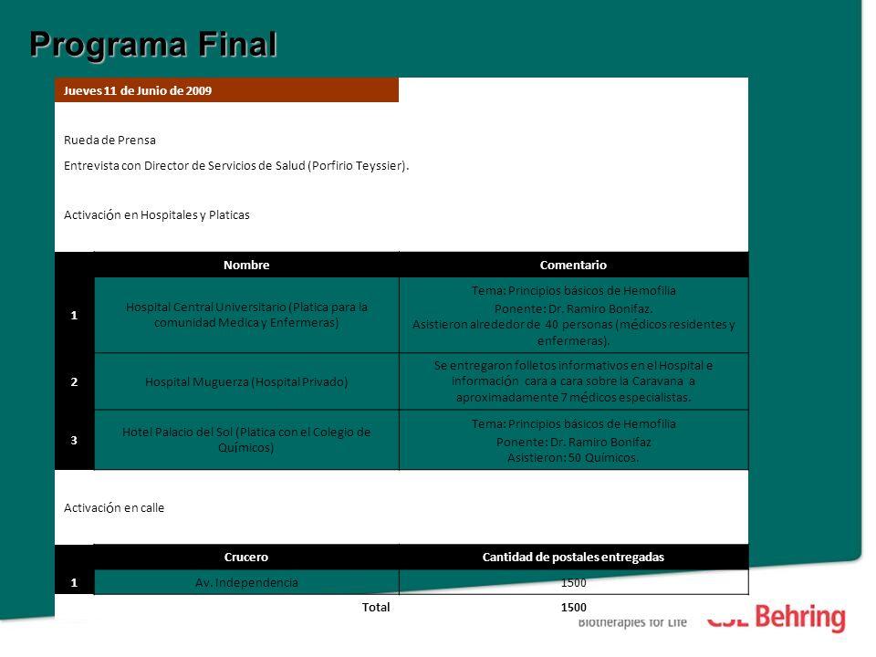 Programa Final Jueves 11 de Junio de 2009 Rueda de Prensa Entrevista con Director de Servicios de Salud (Porfirio Teyssier).