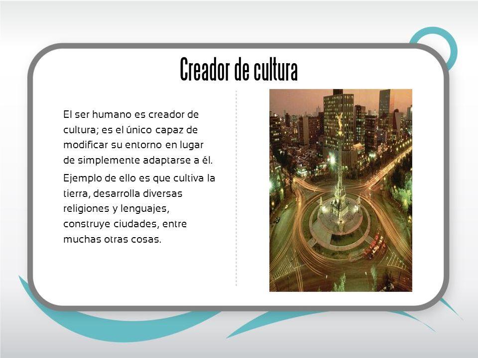 Creador de cultura El ser humano es creador de cultura; es el único capaz de modificar su entorno en lugar de simplemente adaptarse a él. Ejemplo de e