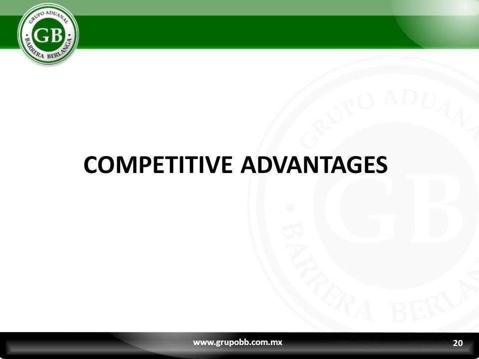 20 COMPETITIVE ADVANTAGES www.grupobb.com.mx 20