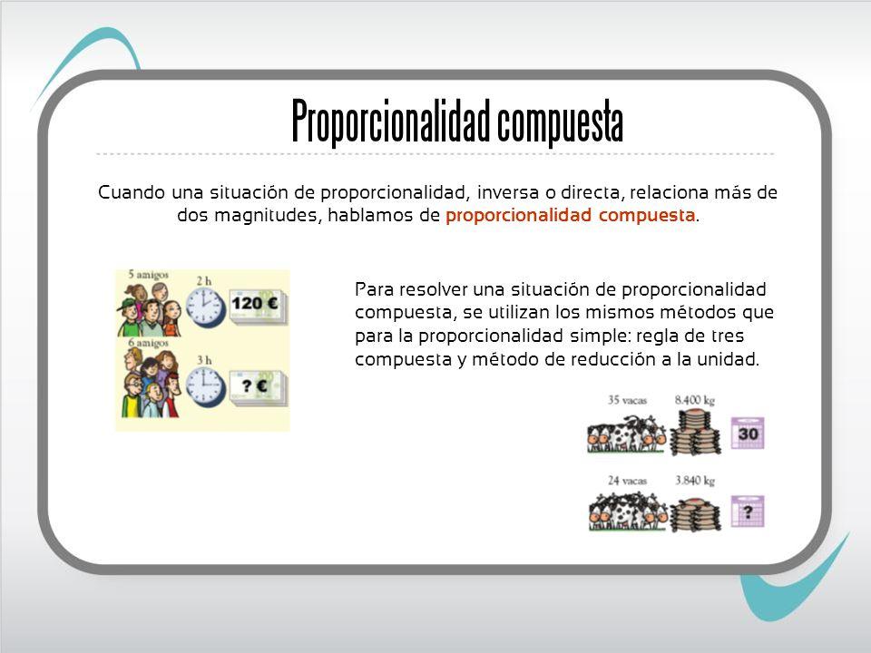 Cuando una situación de proporcionalidad, inversa o directa, relaciona más de dos magnitudes, hablamos de proporcionalidad compuesta. Proporcionalidad