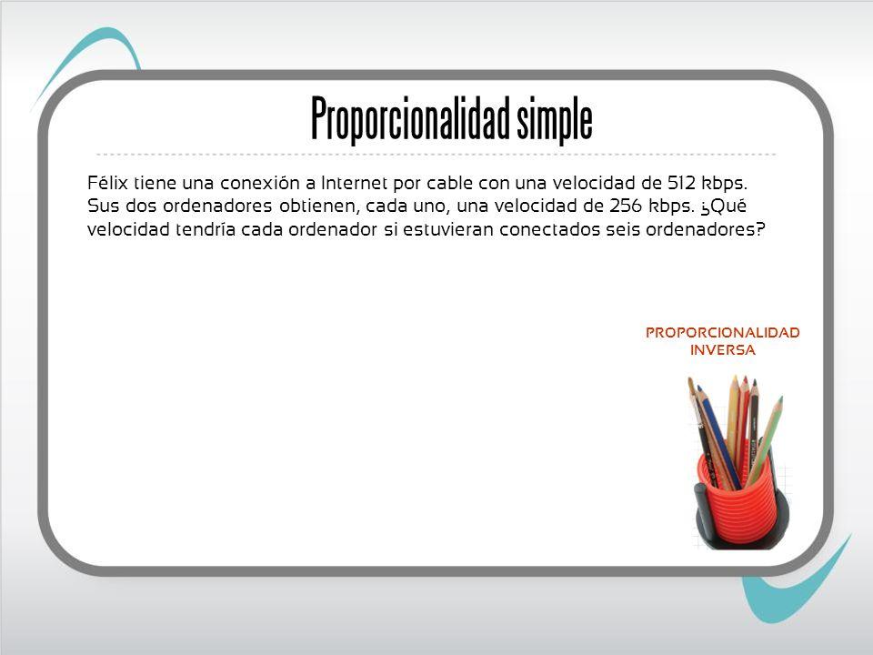 Proporcionalidad simple Félix tiene una conexión a Internet por cable con una velocidad de 512 kbps.