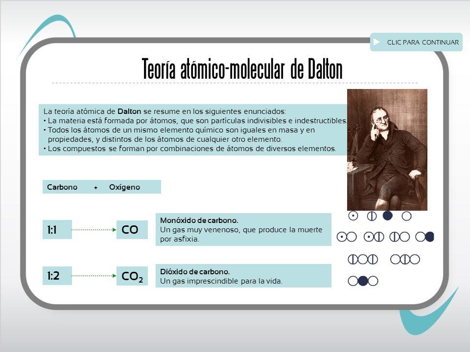 Teoría atómico-molecular de Dalton La teoría atómica de Dalton se resume en los siguientes enunciados: La materia está formada por átomos, que son partículas indivisibles e indestructibles.