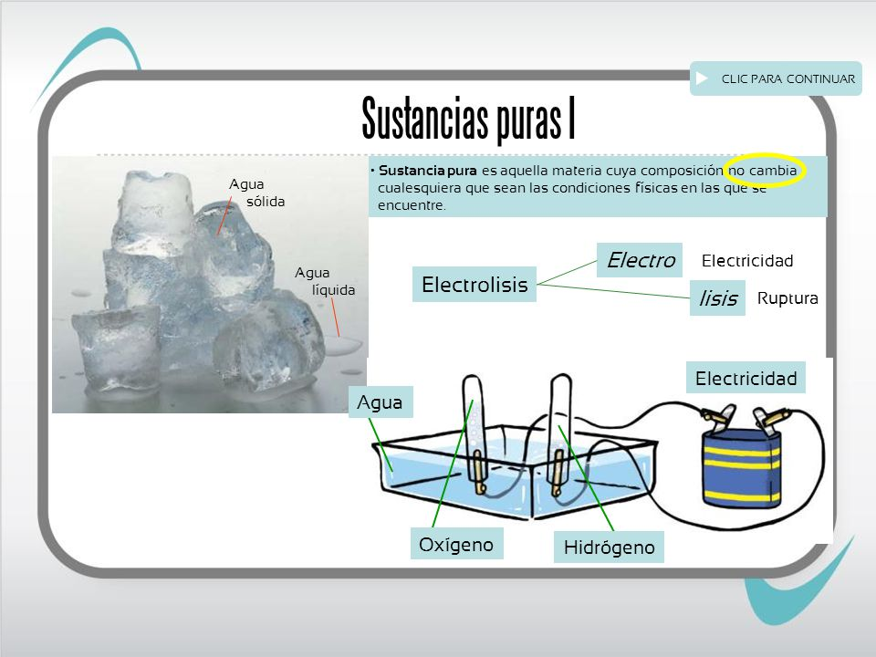 Sustancia pura es aquella materia cuya composición no cambia cualesquiera que sean las condiciones físicas en las que se encuentre.