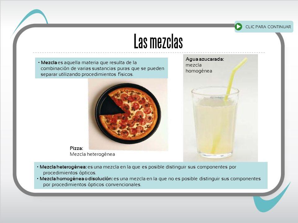 Las mezclas Pizza: Mezcla heterogénea Agua azucarada: mezcla homogénea Mezcla es aquella materia que resulta de la combinación de varias sustancias puras que se pueden separar utilizando procedimientos físicos.