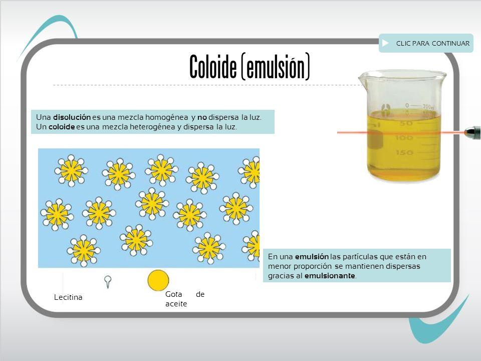 Coloide (emulsión) Una disolución es una mezcla homogénea y no dispersa la luz.