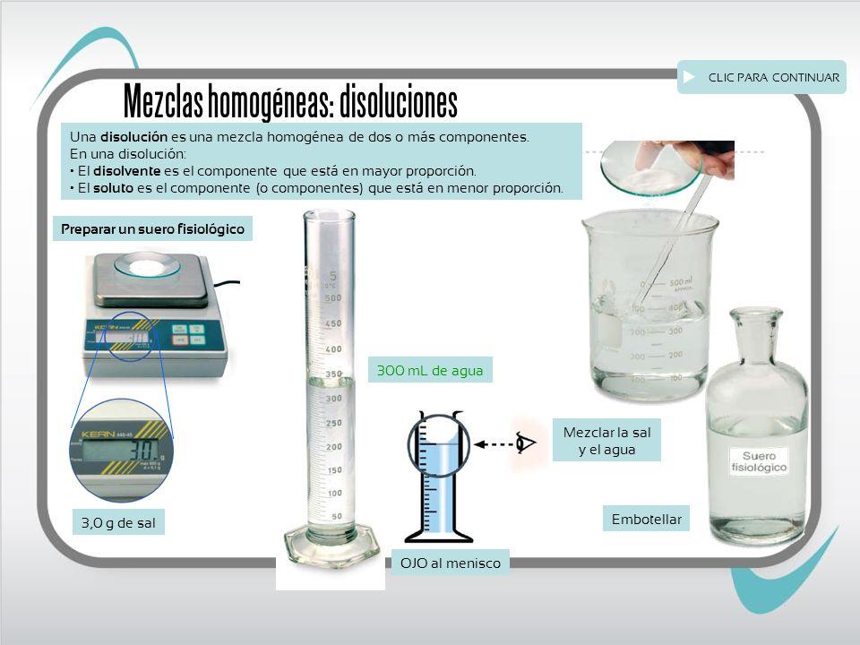 Mezclas homogéneas: disoluciones Una disolución es una mezcla homogénea de dos o más componentes.