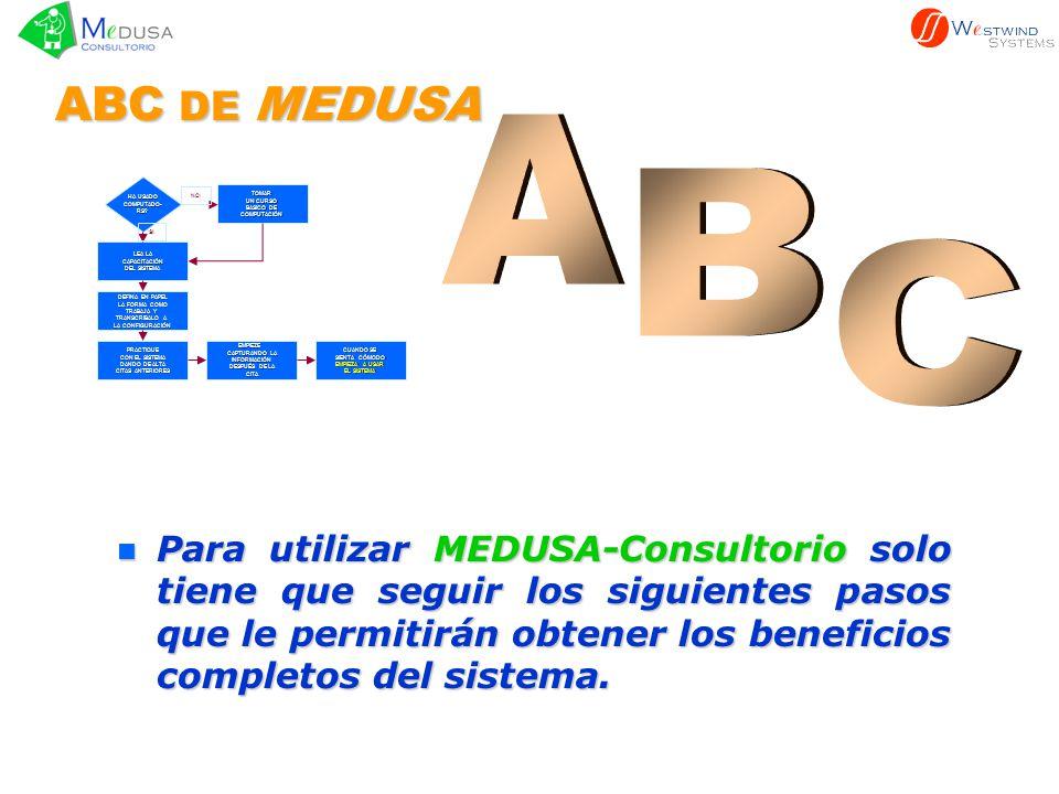 n Para n Para utilizar MEDUSA-Consultorio MEDUSA-Consultorio solo tiene que seguir los siguientes pasos que le permitirán obtener los beneficios compl