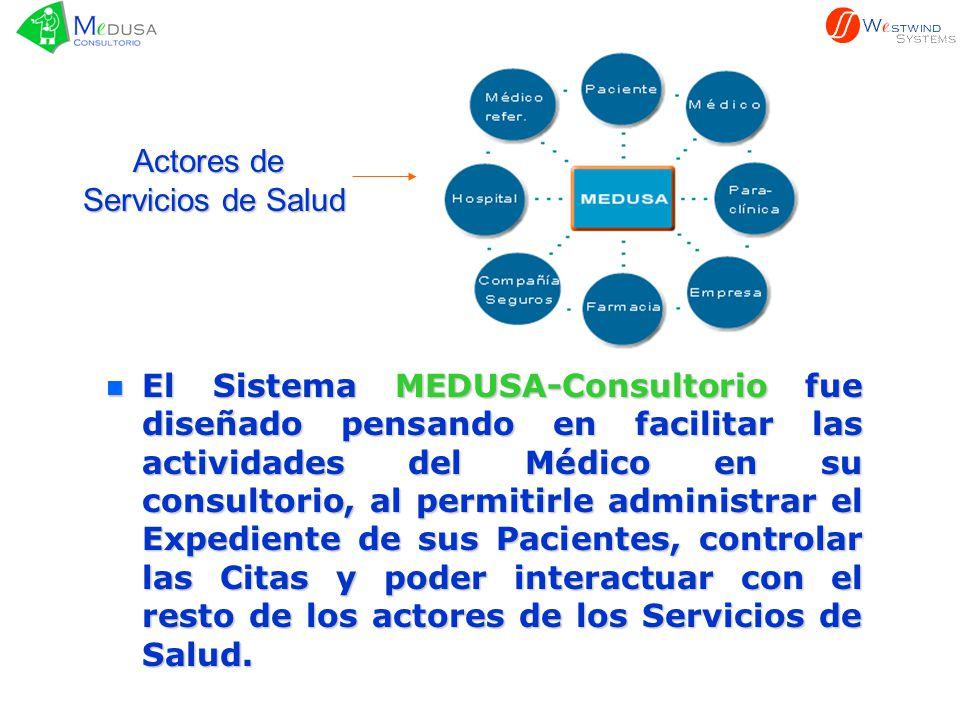n El n El Sistema MEDUSA-Consultorio MEDUSA-Consultorio fue diseñado pensando en facilitar las actividades del Médico en su consultorio, al permitirle