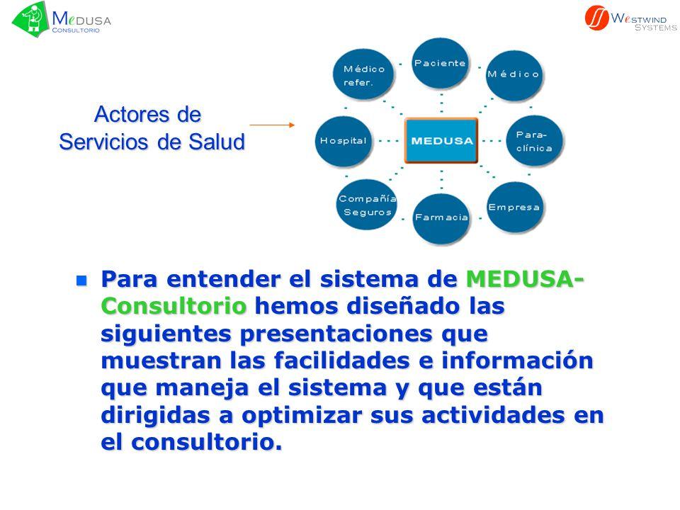n Para n Para entender el sistema de MEDUSA- Consultorio Consultorio hemos diseñado las siguientes presentaciones que muestran las facilidades e infor