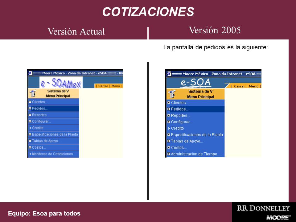 Equipo: Esoa para todos La pantalla de pedidos es la siguiente: COTIZACIONES Versión 2005 Versión Actual