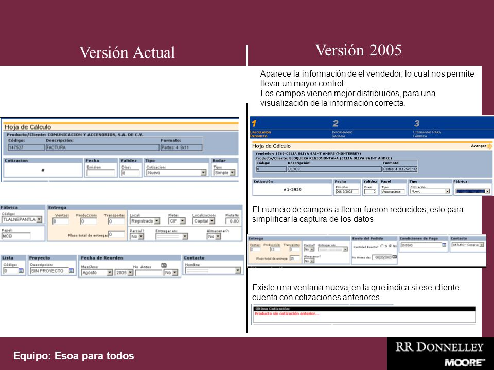 Equipo: Esoa para todos Termino de captura de productos Versión 2005 Versión Actual La ventana de Cargos Adicionales desaparece.