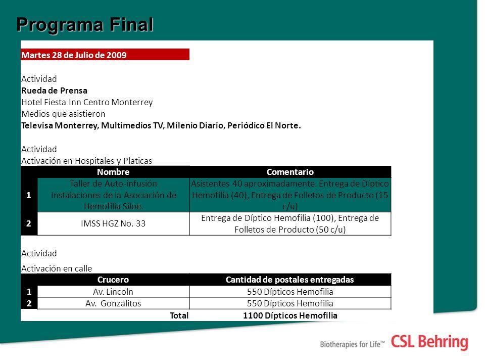 Programa Final Martes 28 de Julio de 2009 Actividad Rueda de Prensa Hotel Fiesta Inn Centro Monterrey Medios que asistieron Televisa Monterrey, Multimedios TV, Milenio Diario, Periódico El Norte.