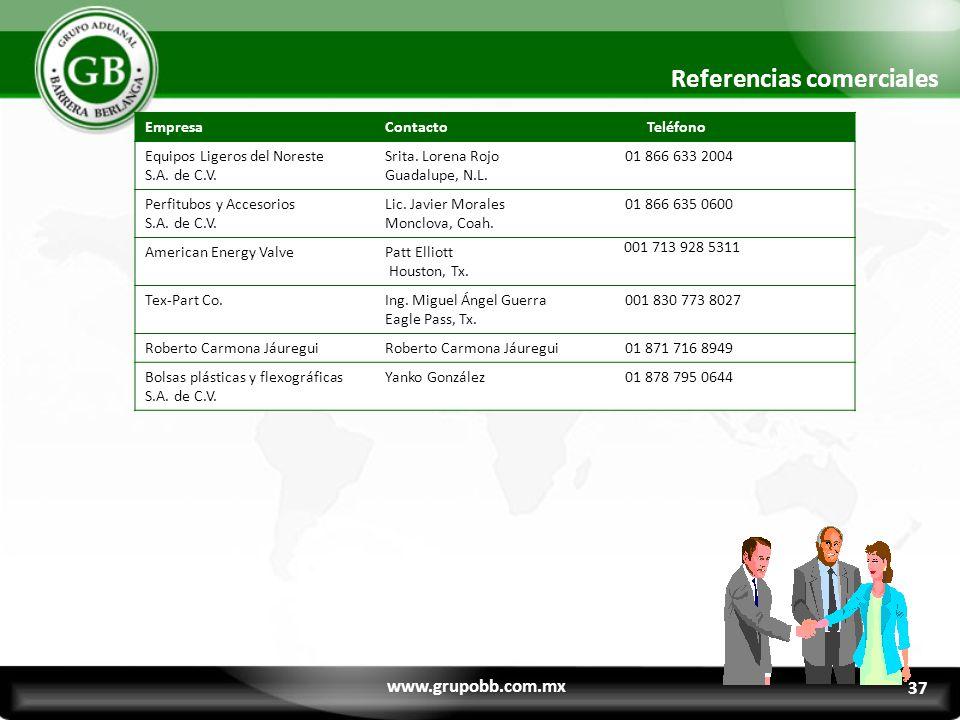 Referencias comerciales www.grupobb.com.mx EmpresaContacto Teléfono Equipos Ligeros del Noreste S.A.