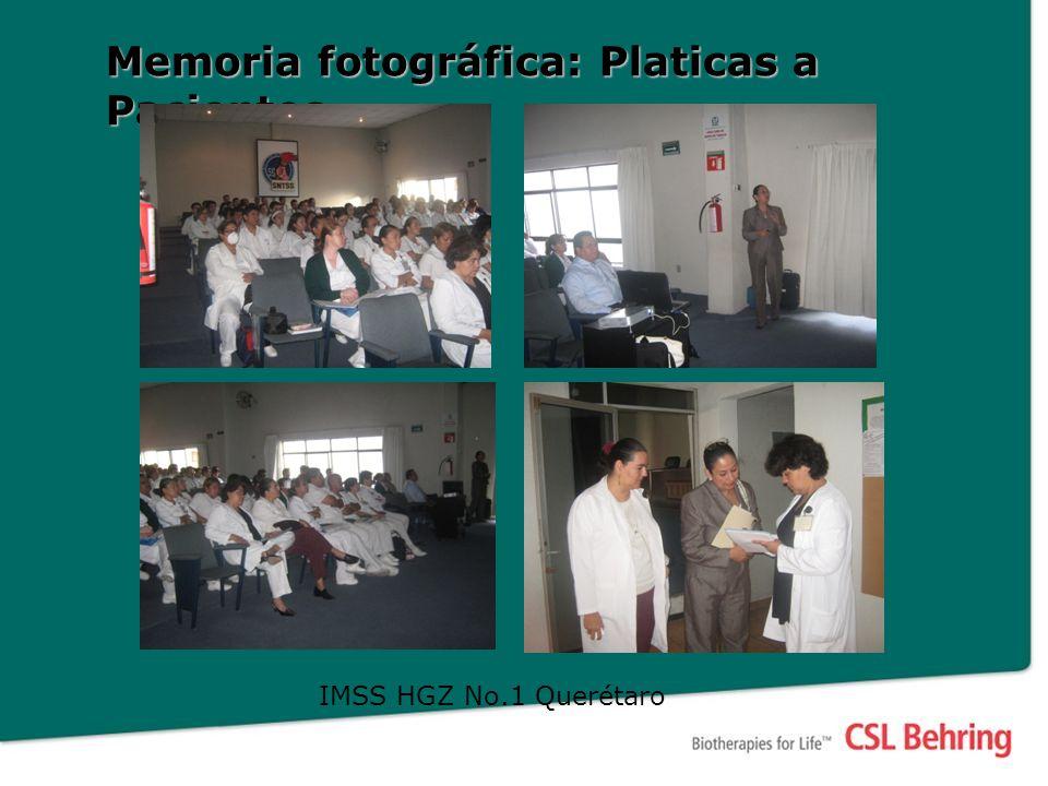 Memoria fotográfica: Platicas a Pacientes