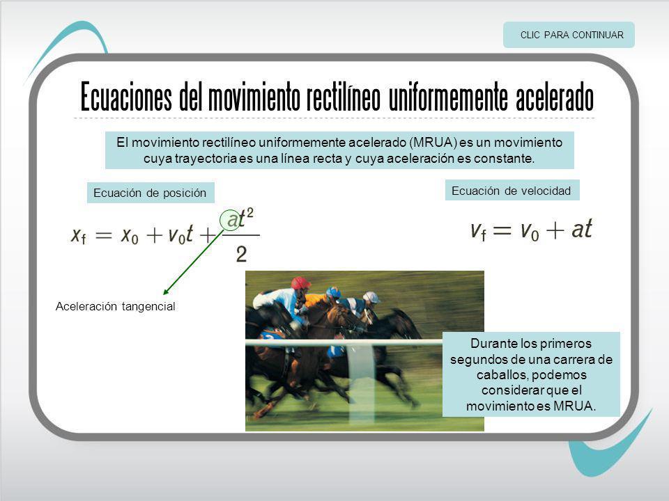 Ecuaciones del movimiento rectilíneo uniformemente acelerado El movimiento rectilíneo uniformemente acelerado (MRUA) es un movimiento cuya trayectoria es una línea recta y cuya aceleración es constante.