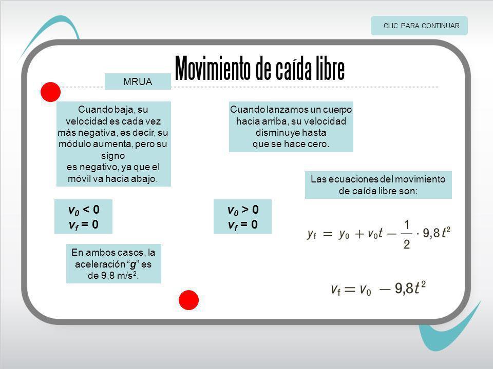Movimiento de caída libre En ambos casos, la aceleración g es de 9,8 m/s 2.
