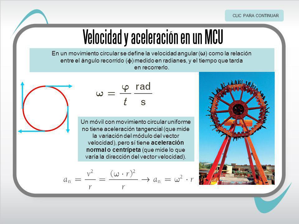 Velocidad y aceleración en un MCU En un movimiento circular se define la velocidad angular (ω) como la relación entre el ángulo recorrido ( ϕ ) medido en radianes, y el tiempo que tarda en recorrerlo.