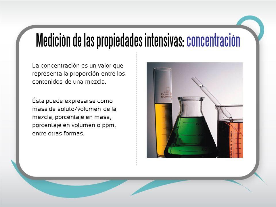 Medición de las propiedades intensivas: solubilidad Es la cantidad máxima de soluto que podemos disolver en un determinado disolvente.