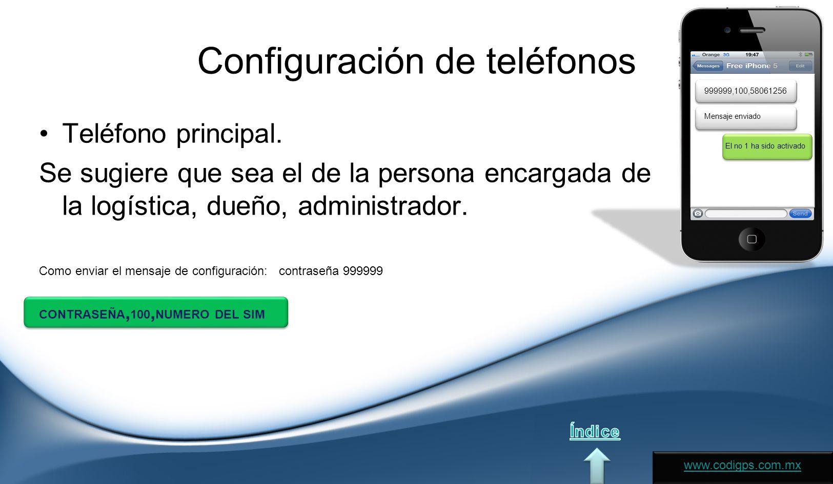 Configuración de teléfonos Teléfono principal.