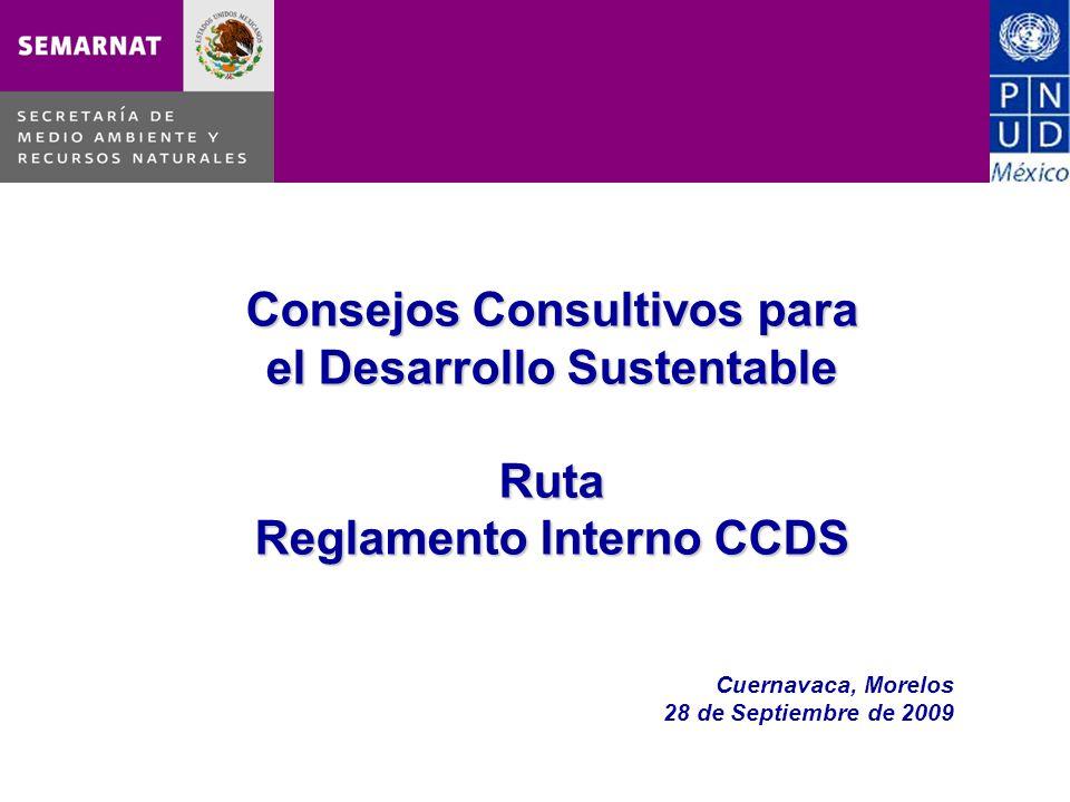 Consejos Consultivos para el Desarrollo Sustentable Ruta Reglamento Interno CCDS Cuernavaca, Morelos 28 de Septiembre de 2009