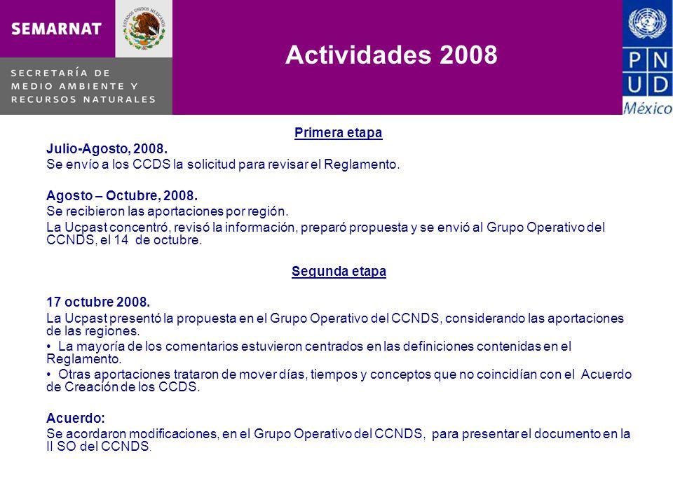 Primera etapa Julio-Agosto, 2008. Se envío a los CCDS la solicitud para revisar el Reglamento. Agosto – Octubre, 2008. Se recibieron las aportaciones