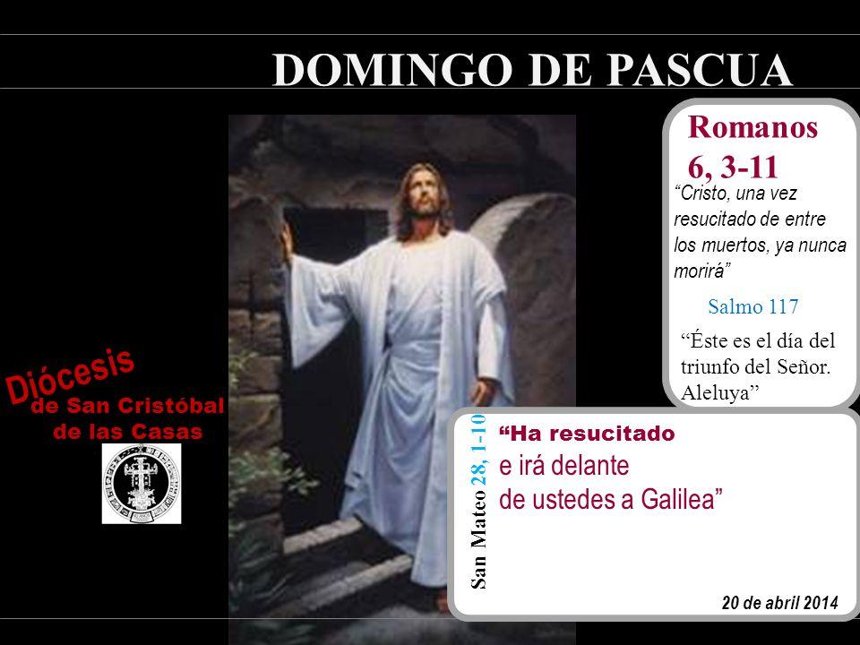 DOMINGO DE PASCUA 20 de abril 2014 Romanos 6, 3-11 Cristo, una vez resucitado de entre los muertos, ya nunca morirá Salmo 117 Éste es el día del triunfo del Señor.