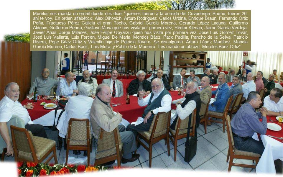 Morelos nos manda un email donde nos dice: quienes fueron a la comida del Covadonga: Bueno, fueron 26, ahí te voy.