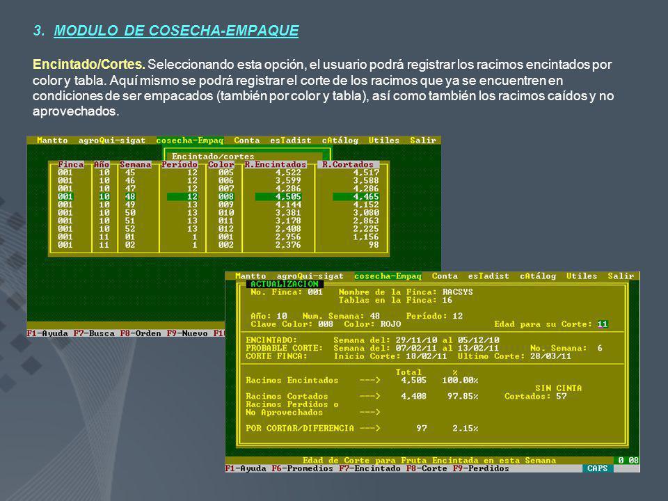 3. MODULO DE COSECHA-EMPAQUE Encintado/Cortes. Seleccionando esta opción, el usuario podrá registrar los racimos encintados por color y tabla. Aquí mi