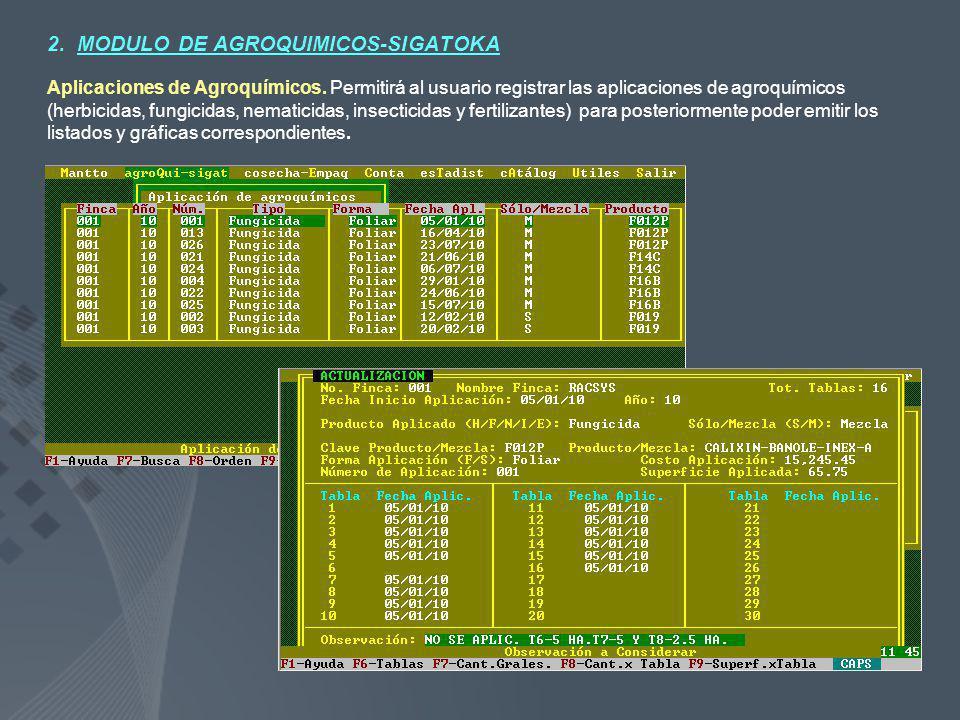 2. MODULO DE AGROQUIMICOS-SIGATOKA Aplicaciones de Agroquímicos. Permitirá al usuario registrar las aplicaciones de agroquímicos (herbicidas, fungicid