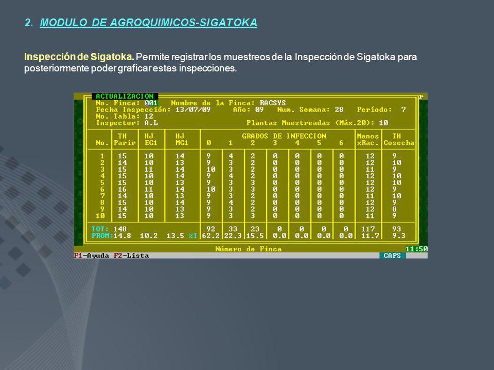 2. MODULO DE AGROQUIMICOS-SIGATOKA Inspección de Sigatoka. Permite registrar los muestreos de la Inspección de Sigatoka para posteriormente poder graf