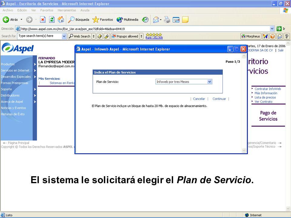 El sistema le solicitará elegir el Plan de Servicio.