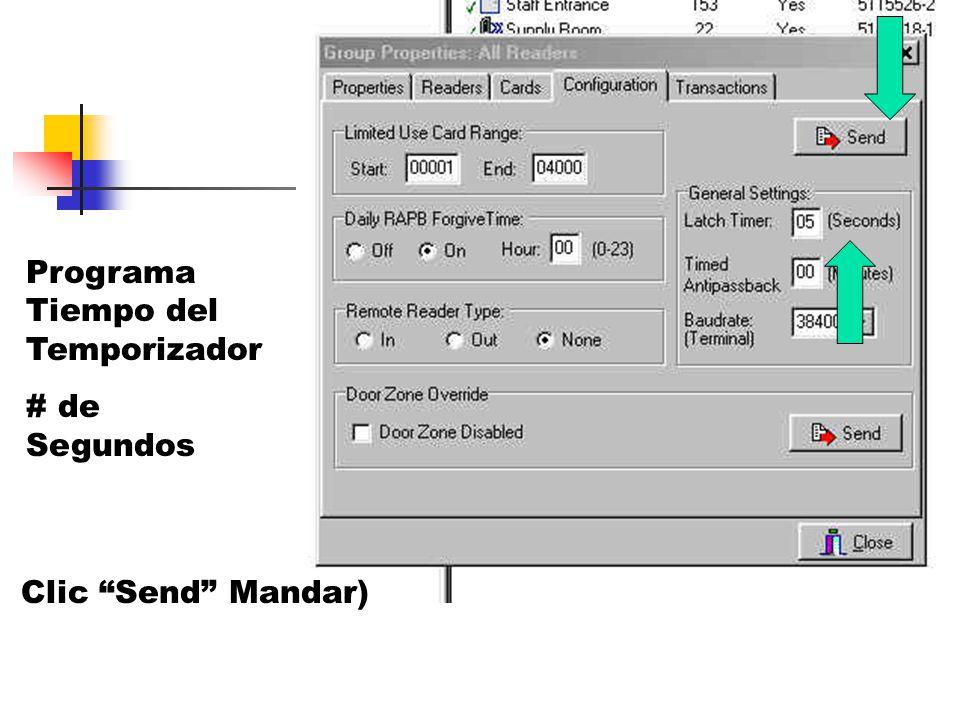 Programa Tiempo del Temporizador # de Segundos Clic Send Mandar)