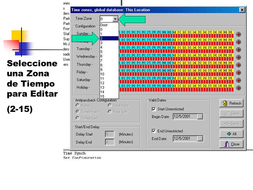 Seleccione una Zona de Tiempo para Editar (2-15)