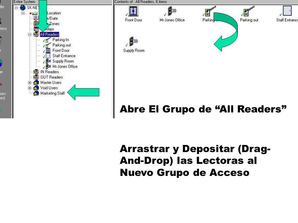 Abre El Grupo de All Readers Arrastrar y Depositar (Drag- And-Drop) las Lectoras al Nuevo Grupo de Acceso