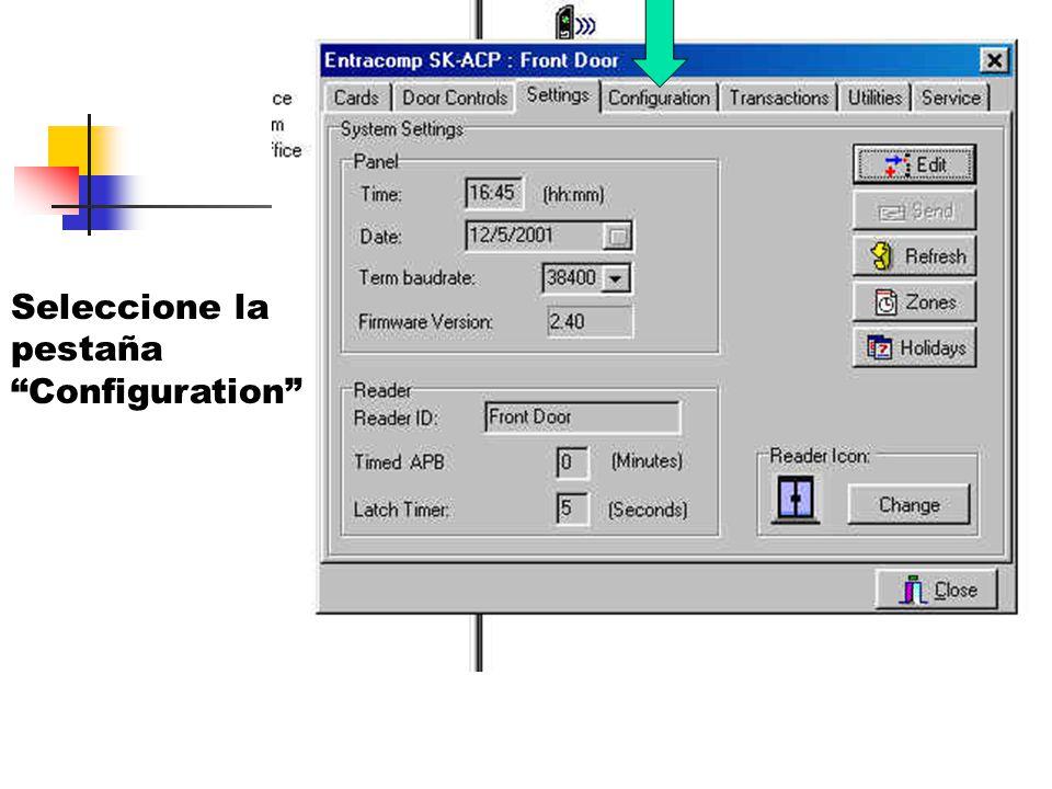 Seleccione la pestaña Configuration