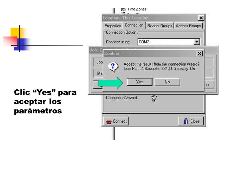 Clic Yes para aceptar los parámetros