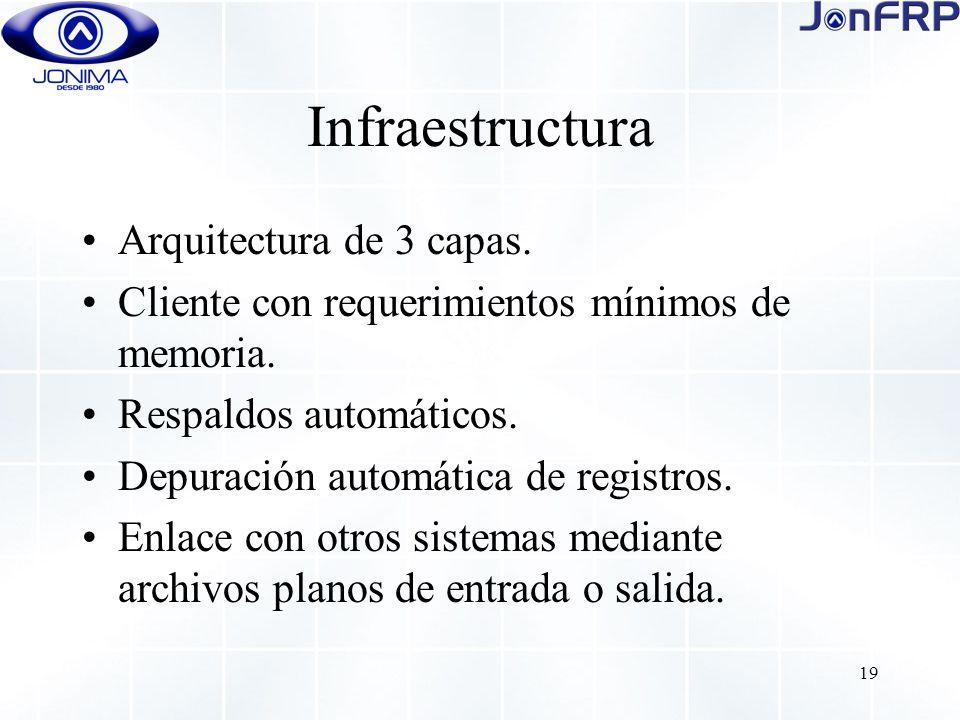 19 Infraestructura Arquitectura de 3 capas. Cliente con requerimientos mínimos de memoria.