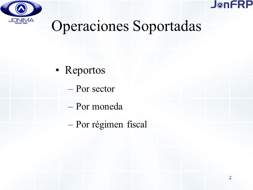 2 Operaciones Soportadas Reportos –Por sector –Por moneda –Por régimen fiscal